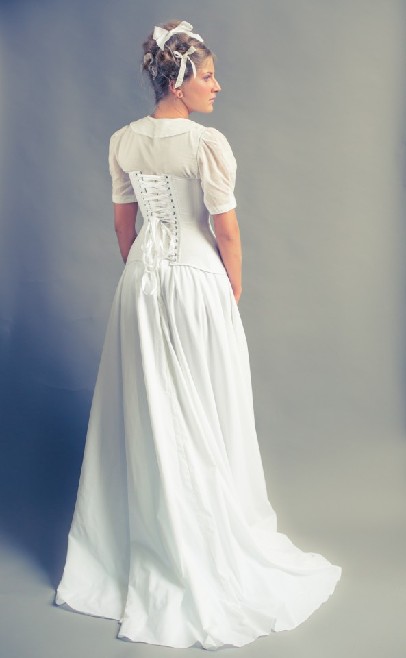 White cotton Edwardian demibust paired with voile blouse and cotton skirt